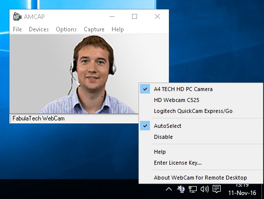 Webcam for Remote Desktop Screenshot